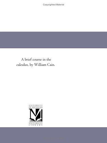 Large book cover: A Brief Course in the Calculus