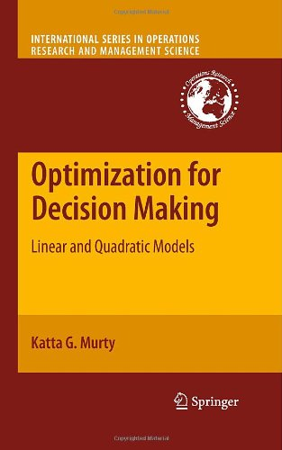 Large book cover: Optimization Models For Decision Making