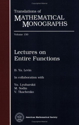 Large book cover: Lectures on Entire Functions