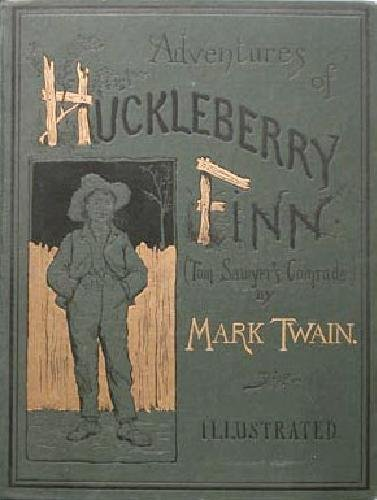 Large book cover: Adventures of Huckleberry Finn