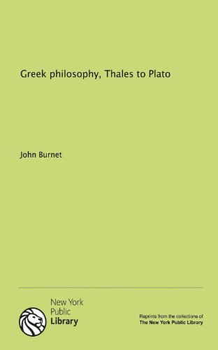 Large book cover: Greek Philosophy, Thales to Plato